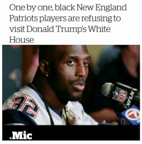 """Devin McCourty and Martellus Bennett, New England Patriots players, are turning down the invitation to visit the White House. 👊💥 👏👏 ✊ - """"I'm not going to the White House,"""" the Patriots' Devin McCourty told Time. """"Basic reason for me is I don't feel accepted in the White House. With the president having so many strong opinions and prejudices I believe certain people might feel accepted there while others won't."""" blackhistorymonth frederickdouglass blacklivesmatter NoBanNoWall WeAreAmerica HereToStay NoMuslimRegistry NoMuslimBan UndocumentedAndUnafraid Undocumented not1more NotMyPresident Muslim refugeeswelcome refugeesarewelcome: One by one, black New England  Patriots players are refusing to  visit Donald Trump's White  House  .Mic Devin McCourty and Martellus Bennett, New England Patriots players, are turning down the invitation to visit the White House. 👊💥 👏👏 ✊ - """"I'm not going to the White House,"""" the Patriots' Devin McCourty told Time. """"Basic reason for me is I don't feel accepted in the White House. With the president having so many strong opinions and prejudices I believe certain people might feel accepted there while others won't."""" blackhistorymonth frederickdouglass blacklivesmatter NoBanNoWall WeAreAmerica HereToStay NoMuslimRegistry NoMuslimBan UndocumentedAndUnafraid Undocumented not1more NotMyPresident Muslim refugeeswelcome refugeesarewelcome"""