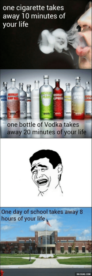 9gag, Bad, and Life: one cigarette takes  away 10 minutes of  your life  ABSOLUT. OLU  BSOLUT  SPBER  PEARS  SOL  one bottle of Vodka takes  away 20 minutes of your life  One day of school takes away 8  hours of your life  VIA 9GAG.COM Things that are bad for you