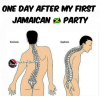 Memes, Party, and Jamaica: ONE DAY AFTER MY FIRST  JAMAICAN PARTY  Scoliosis  Kyphosis  der 😭😭😭😭 I mean the dagga was great but I felt the pain in so many areas dancehall jamaica jamaican passapassa nycsocajunkie