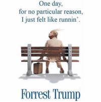 Dank Memes, One Day, and I Just: One day,  for no particular reason,  I just felt like runnin'  Forrest Trump @trashcanpaul should b ur new favorite page