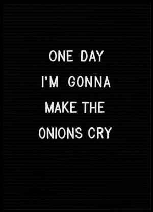 One, One Day, and Cry: ONE DAY  I'M GONNA  MAKE THE  ONIONS CRY