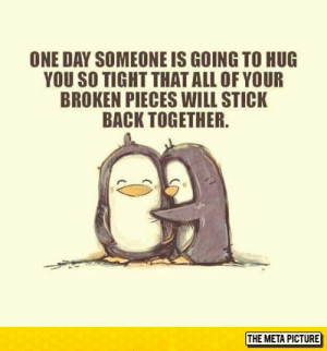 laughoutloud-club:  You Just Have To Hang In There: ONE DAY SOMEONE IS GOING TO HUG  YOU SO TIGHT THATALL OF YOUR  BROKEN PIECES WILL STICK  BACK TOGETHER  THE META PICTURE laughoutloud-club:  You Just Have To Hang In There