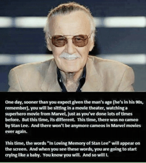 "This hurts now: One day, sooner than you expect given the man's age (he's in his 90s,  remember), you will be sitting in a movie theater, watching a  superhero movie from Marvel, just as you've done lots of times  before. But this time, its different. This time, there was no cameo  by Stan Lee. And there won't be anymore cameos in Marvel movies  ever again.  This time, the words ""In Loving Memory of Stan Lee"" will appear on  the screen. And when you see these words, you are going to start  crying like a baby. You know you will. And so will. This hurts now"