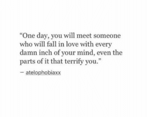 "Fall, Love, and Mind: ""One day, you will meet someone  who will fall in love with every  damn inch of your mind, even the  parts of it that terrify you.""  - atelophobiaxx"