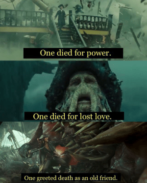 Harry Potter, Love, and Lost: One died for power.  One died for lost love.  One greeted death as an old friend. A little Harry Potter for ye mateys.