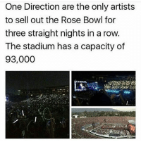 Memes, One Direction, and Live: One Direction are the only artists  to sell out the Rose Bowl for  three straight nights in a row  The stadium has a capacity of  93,000 YET IVE NEVER SEEN THEM LIVE FOR ONCE