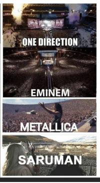 I'm sensing a pattern here..: ONE DIRECTION  EMINEM  METALLICA  SARUMAN I'm sensing a pattern here..