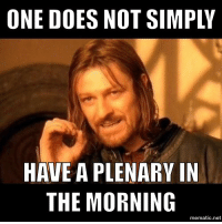 <p>Boromir has a concern about the agenda.</p>: ONE DOES NOT SIMPLY  HAVE A PLENARY IN  THE MORNING  mematic.net <p>Boromir has a concern about the agenda.</p>