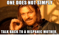 Doe, Death, and Imgur: ONE DOES NOT SIMPLY  TALK BACK TO A HISPANIC MOTHER  made on imgur Unless You Have A Death Wish.....