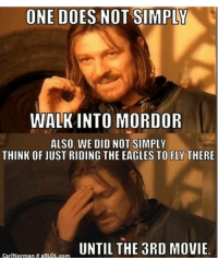 Nice one gandalf: ONE DOES NOT SIMPLY  WALK INTO MORDOR  ALSO, WE DID NOT SIMPLY  THINK OF JUST RIDING THE EAGLES TO FLY THERE  UNTIL THE 3RD MOVIE  CarlNorman H allLOL.com Nice one gandalf
