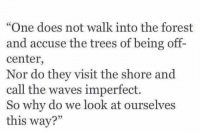 """Waves, Trees, and The Forest: """"One does not walk into the forest  and accuse the trees of being off-  center,  Nor do they visit the shore and  call the waves imperfect.  So why do we look at ourselve  this way?"""""""