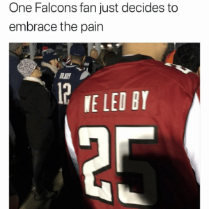 Falcons Fan: One Falcons fan just decides to  embrace the pain  RADY  P TE LED Br