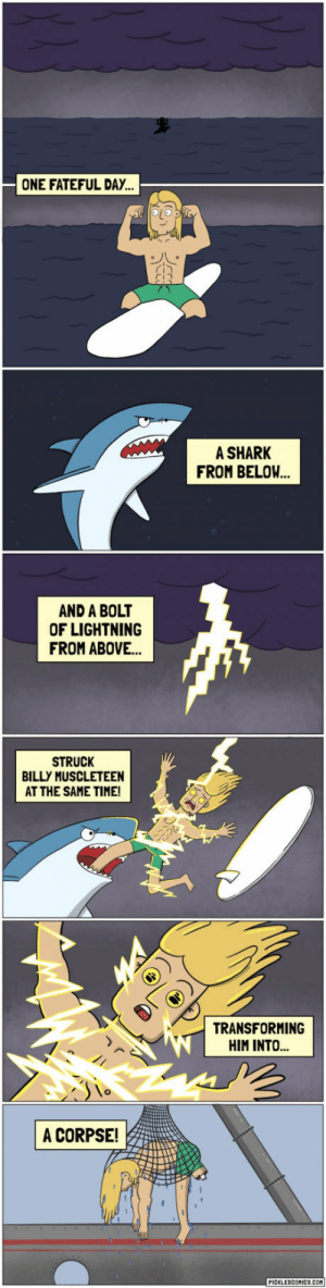 Shark, Lightning, and Time: ONE FATEFUL DAY.  A SHARK  FROM BELOW  AND A BOLT  OF LIGHTNING  FROM ABOVE.  STRUCK  BILLY MUSCLETEEN  AT THE SAME TIME!  TRANSFORMING  HIM INTO  lo  A CORPSE!  PICKLEDCOMICS.COM Do you think it is Even possible like that ?