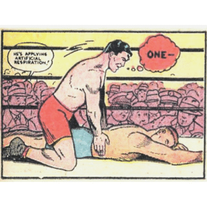 Is he, though?: ONE-  HE'S APPLYING  ARTIFICIAL  RESPIRATION. Is he, though?