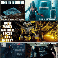 Memes, 🤖, and Mother: ONE IS BURIED  IGI DC.MARVEL UNITE  HOW  MANY  MOTHER  BOXES  ARE  THERE?  CYBORG  JUSTICE  LEAGUE  IS A  MOTHER  BOX  ONE IS IN ATLANTIS  THE OTHER IS CYBORG So how many MotherBoxes are there in the JusticeLeague Movie ? 🤔 In that Deleted Scene from BatmanVSuperman we see a Hologram Imagery of SteppenWolf holding Three MotherBoxes. In The New JL Trailer we see Queen Mera Guarding a MotherBox UnderWater in Atlantis, We also saw what looks to be Atlantans Burying a MotherBox on Land in The JL Trailer from ComicCon Last year, and we Also Know that Cyborg is made from one of the MotherBoxes to save his Life. But then in the recent JL Trailer we also see Cyborg Holding a MotherBox. I'm calling it now…SteppenWolf and his ParaDemons are going to attack Atlantis to steal their MotherBox. So is there 3 or 4 of them ? Let me know your Thoughts and Theories in the Comments Below ! 📦 DCExtendedUniverse 💥 DCEU DCFilms