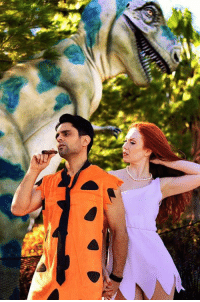 One last picture from the Flintstones photoshoot Red Kelly and I did a few months back. 📷 NOTE: That's an ACTUAL dinosaur behind us. Turns out, he's a big fan of my skits and wanted to get a picture to show his brother. Haters will say it's fake. True story. 😇: One last picture from the Flintstones photoshoot Red Kelly and I did a few months back. 📷 NOTE: That's an ACTUAL dinosaur behind us. Turns out, he's a big fan of my skits and wanted to get a picture to show his brother. Haters will say it's fake. True story. 😇