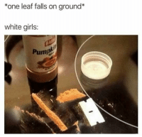 Girls, Memes, and White: *one leaf falls on ground*  white girls:  Pump