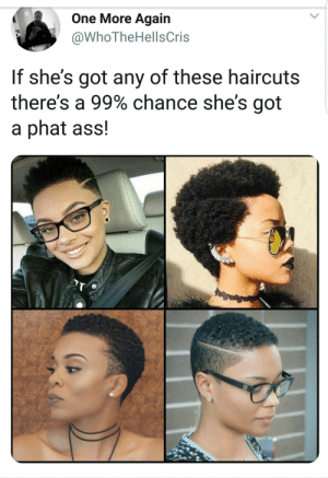 Ass, Booty, and Dank: One More Again  @WhoTheHellsCris  If she's got any of these haircuts  there's a 99% chance she's got  a phat ass! The thicc booty haircut is scientifically proven by Atheistsomalipirate MORE MEMES