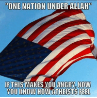 "Memes, Angry, and 🤖: ""ONE NATION UNDER ALLAH  IF THIS MAKES YOU ANGRY NOW  YOU KNOW HOW ATHEISTS FEEL"
