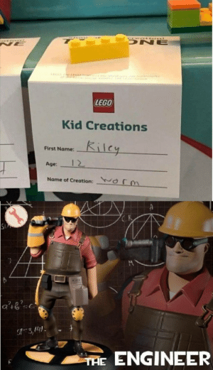 Lego, Nice, and Creation: ONE  NE  e GO  rk  LEGO  Kid Creations  Kilcy  First Name:  12  Age:  Name of Creation:  Or  SU  3,141  ENGINEER  THE Say nice right now