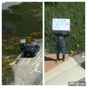 One of my friends wives has breast cancer and goes to chemo for days at a time sometimes. The hospital she goes to doesn't allow any visitors right now, so he parked off the side of the freeway ramp and held this sign up for her while she did her treatment.: One of my friends wives has breast cancer and goes to chemo for days at a time sometimes. The hospital she goes to doesn't allow any visitors right now, so he parked off the side of the freeway ramp and held this sign up for her while she did her treatment.