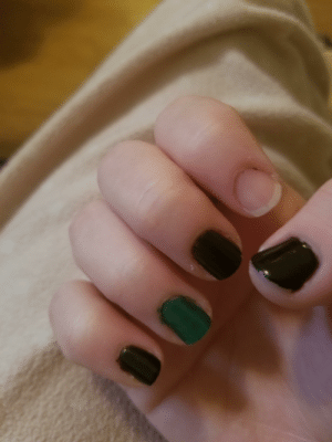 One of my nails stripped while I was cleaning my bathroom. I painted them this morning.: One of my nails stripped while I was cleaning my bathroom. I painted them this morning.