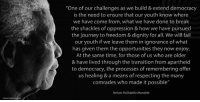 """""""One of our challenges as we build and extend democracy is the need to ensure that our youth know where we have come from, what we have done to break the shackles of oppression and how we have pursued the journey to freedom and dignity for all. We will fail our youth if we leave them in ignorance of what has given them the opportunities they now enjoy. At the same time, for those of us who are older and have lived through the transition from apartheid to democracy, the processes of remembering offer us healing and a means of respecting the many comrades who made it possible."""" ~ Nelson Mandela speaking at the launch of the Nelson Mandela Centre of Memory, Houghton, Johannesburg, South Africa, 21 September 2004 #LivingTheLegacy #MadibaRemembered #27for27   www.nelsonmandela.org www.mandeladay.com archive.nelsonmandela.org: """"One of our challenges as we build & extend democracy  is the need to ensure that our youth know where  we have come from, what we have done to the shackles of oppression & how we have pursued  the journey to freedom & dignity for all. We will fail  our youth if we leave them in ignorance of what  has given them the opportunities they now enjoy  At the same time, for those of us who are older  & have lived through the transition from apartheid  to democracy, the processes of remembering offer  us healing & a means of respecting the many  comrades who made it possible""""  Nelson Rolihlahla Mandela """"One of our challenges as we build and extend democracy is the need to ensure that our youth know where we have come from, what we have done to break the shackles of oppression and how we have pursued the journey to freedom and dignity for all. We will fail our youth if we leave them in ignorance of what has given them the opportunities they now enjoy. At the same time, for those of us who are older and have lived through the transition from apartheid to democracy, the processes of remembering offer us healing and a means of respecting the many comrades who m"""