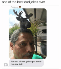 (@thehoodjokes) has some good savage memes: one of the best dad jokes ever  Papa bear  mmerk  Ran out of hair gel so put some  mousse in it (@thehoodjokes) has some good savage memes