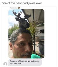 Dad, Memes, and Best: one of the best dad jokes ever  Papabear  mmer  Ran out of hair gel so put some  mousse in it I'm dead 😂