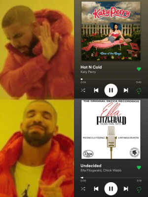 They're basically the same song: One of the Boys  Hot N Cold  Katy Perry  0:04  3:40  THE ORIGINAL DECCA RECORDINGS  FITZCERALD  THE EARLY YEARS - PART 2  FEATURING ELLA FITZGERALD  & HER FAMOUS ORCHESTRA  DECCA  (Decca  JAZZ  MASTERS  Undecided  Ella Fitzgerald, Chick Webb  0:06  3:19 They're basically the same song