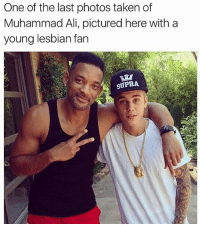 Ali, Memes, and Muhammad Ali: One of the last photos taken of  Muhammad Ali, pictured here with a  young lesbian fan  SUPRA Niggaaa..😂😂😂