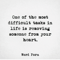 Follow our friends @wordporm: One of the most  difficult tasks in  life is removing  someone from your  heart.  Word Porn Follow our friends @wordporm