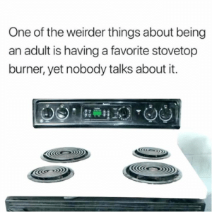 Being an Adult, Dank, and 🤖: One of the weirder things about being  an adult is having a favorite stovetop  burner, yet nobody talks about it.