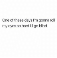 One, Blinds, and Eyes: One of these days I'm gonna roll  my eyes so hard I'll go blind 👀