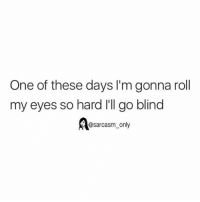 Funny, Memes, and Blinds: One of these days l'm gonna roll  my eyes so hard I'll go blind  dl@sarcasm only ⠀