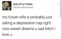 - Trending Memes: one of ur hoes  @miliondollameat  my future wife is probably just  taking a depression nap right  now sweet dreams u sad bitch i  love u - Trending Memes