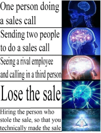 sales: One person doing  a sales call  Sending two people  to do a sales call  Seeing a rival employee  and calling in a third person  Lose the sale  Hiring the person who  stole the sale, so that you  technicallv made the sale