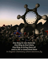 Chemist, Ring, and Clouds: One Ring to rule them all,  One Ring to find them,  One Ring to bring them all  and in the T-cloud bind them  In Organic Chemistry where electrons fly The mighty ring