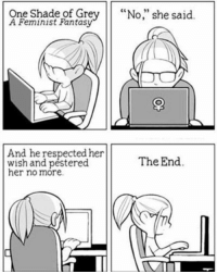 """Love, Memes, and Shade: One Shade of Grey  """"No,"""" she said  Feminist Fantasy  And he respected her  wish and pestered  The End.  her no more  VIII Haha love this! - Nainz"""
