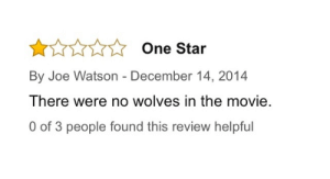 garf-lyf:  The Wolf of Wall Street : One Star  By Joe Watson - December 14, 2014  There were no wolves in the movie.  0 of 3 people found this review helpful garf-lyf:  The Wolf of Wall Street