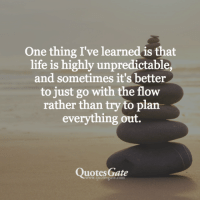 Just Go With The Flow: One thing I've learned is that  life is highly unpredictable,  and sometimes it's better  to just go with the flow  rather than try to plan  everything out.  Quotes Gate  www.quotesgate.com