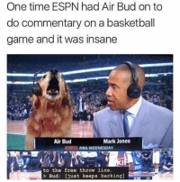 Basketball, Espn, and Funny: One time ESPN had Air Bud on to  do commentary on a basketball  game and it was insane  Air Bud  Mark Jones  NDA WEDNESDAY  to the free throw line  Bud: [just keeps barking]