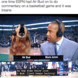 Good Boy by MustNeedDogs FOLLOW 4 MORE MEMES.: one time ESPN had Air Bud on to do  commentary on a basketball game and it was  insane  Mark Jones  Air Bud  EST NBA WEDNESDAY  KI  RACL  to the free throw line.  Bud: [just keeps barkingl  24  AT  8:08 Good Boy by MustNeedDogs FOLLOW 4 MORE MEMES.