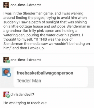 "22 Hilarious tumblr posts Jokes – Cosby Memes: one-time-i-dreamt  I was in the Slenderman game, and I was walking  around finding the pages, trying to avoid him when  suddenly I saw a patch of sunlight that was shining  on a little cottage house and out pops Slenderman in  a grandma-like frilly pink apron and holding a  watering can, pouring the water over his plants. I  thought to myself, ""If THIS was the side of  Slenderman the media saw we wouldn't be hating on  him,"" and then I woke up  one-time-i-dreamt  freebasketballwagonperson  Tender Man  christiandevil7  He was trying to reach out 22 Hilarious tumblr posts Jokes – Cosby Memes"