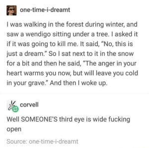 """The most exciting dream I've had recently was when I dreamt I swallowed a bug. And I'm pretty sure I swallowed a bug irl.: one-time-i-dreamt  I was walking in the forest during winter, and  saw a wendigo sitting under a tree. I asked it  if it was going to kill me. It said, """"No, this is  just a dream."""" So l sat next to it in the snow  for a bit and then he said, """"The anger in your  heart warms you now, but will leave you cold  in your grave."""" And then I woke up.  corvell  Well SOMEONE'S third eye is wide fucking  open  Source: one-time-i-dreamt The most exciting dream I've had recently was when I dreamt I swallowed a bug. And I'm pretty sure I swallowed a bug irl."""