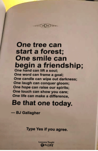 Life, Memes, and Goal: One tree can  start a forest;  One smile can  begin a friendship;  One hand can lift a soul;  One word can frame a goal;  One candle can wipe out darkness;  One laugh can conquer gloom;  One hope can raise our spirits;  One touch can show you care;  One life can make a difference,  Be that one today.  -BJ Gallagher  Type Yes if you agree.  Lessons Taught  By LIFE <3