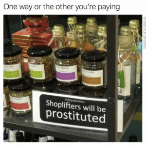 Dank, Memes, and Target: One way or the other you're paying  Toesday  day  Tuesday  Tuesday  CCTV In Operations  Shoplifters will be  prostituted  Tuesday  @black.humorist A bit harsh don't you think? by Rub_My_Brisket FOLLOW 4 MORE MEMES.