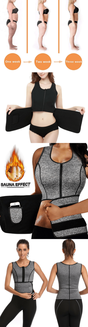Beautiful, Club, and Curving: One week  lwo week  Three week   SAUNA EFFECT awesomage:   Sauna Sweat Vest/Suit For Home Workout- Enable Your Perfect Curve The UPDATED Thermal vest is made of premium flexible neoprene offers great performance on enhancing sweat and heat and shaping the beautiful curve. WHAT IT CAN DO FOR YOU ?1. Maximize Caloric Burn 2. Sheds Your Excess Water 3. Relief Muscle Soreness 4. Show your perfect curve 5. Improve posture, make you more sexy and beautiful