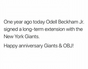 😂: One year ago today Odell Beckham Jr.  signed a long-term extension with the  New York Giants.  Happy anniversary Giants & OBJ! 😂