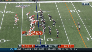 .@BakerMayfield finds Demetrius Harris for another tight end touchdown! #NationalTightEndsDay #CLEvsNE  📺: CBS 📱: NFL app // Yahoo Sports app Watch free on mobile: https://t.co/a16R5wPShJ https://t.co/MNdhnMv62X: ONFL  ND&9  :03  NE  17 2ND 7:51 4  (7-0)  CLE  0  (2-4)  2ND & 9  D. A  T.CARSON: 12 RUSH, 34 YDS  K.GOLLADAY: 6 REC, 123 YDS, 2 TD  NFL  , INT .@BakerMayfield finds Demetrius Harris for another tight end touchdown! #NationalTightEndsDay #CLEvsNE  📺: CBS 📱: NFL app // Yahoo Sports app Watch free on mobile: https://t.co/a16R5wPShJ https://t.co/MNdhnMv62X